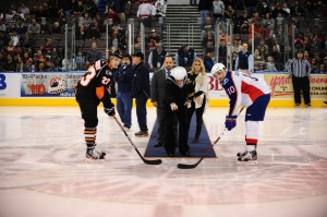 Admirals Puck Drop with Joe Gregory (back left) and myself (back right). (Photo: John Wright)
