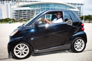 Duane Brown in a Smart Car (Photo: Sunshine Winters Photography)