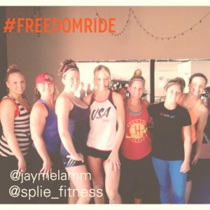 The gals from the #FreedomRide at Splie Fitness