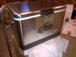 Win this Bud Light Stainless Steel Coleman Cooler and more!