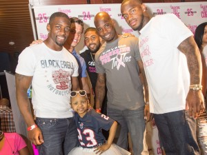 Guest of honor Kyssi Andrews with Houston Texans Brice McCain, from left, Brian Cushing, Arian Foster, Johnathan Joseph and Kareem Jackson Photo by Micahl Wyckoff