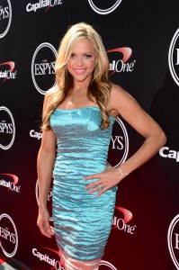 Jennie Finch on the Red Carpet talking Capital One Cup at 2014 ESPYS. (Photo Joe Faraoni/ESPN Images)