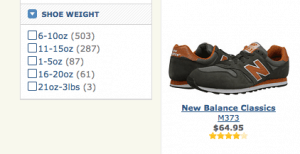 """Zappos.com allows shoppers to choose """"shoe weight"""" while shopping"""