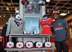 Kareem Jackson and his player-inspired Fly Guy line for the Houston Texans (photo: Houston Texans)