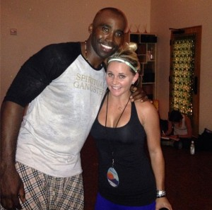 The Blonde Side's Jayme Lamm with former NFL player Keith Mitchell