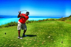 Former NFL Player Max Starks hits hole 16 at Port Royal Golf Course (photo via D'Lamina Photograph)