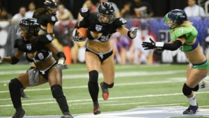Carmen Bourseau - our favorite lingerie-clad running back (photo via LFL)
