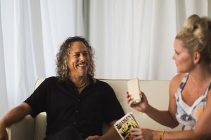Jayme of The Blonde Side interviewing Kirk Hammett of Metallica at Austin X Games (photo: Clark Terrell)