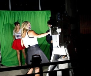How many blonde co-hosts does it take to work a photobooth?