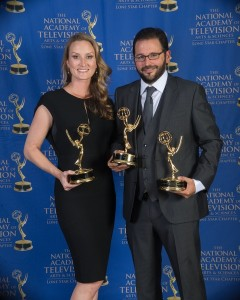 Alex and Whitney Douglas of Sculpting With Time Productions, won three Lone Star Emmys for their film, The UH Football Experience. Courtesy photo