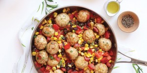 Recipe & Photo: Oxygen Magazine: Southwest Turkey Meatballs + Corn + Black Bean Salsa