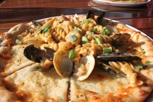 Pasta AND Seafood on a PIZZA. This is amazing! (photo courtesy: The Union Kitchen FB)