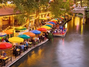 San Antonio River Walk at dusk. Photo courtesy of San Antonio Convention and Visitors Bureau